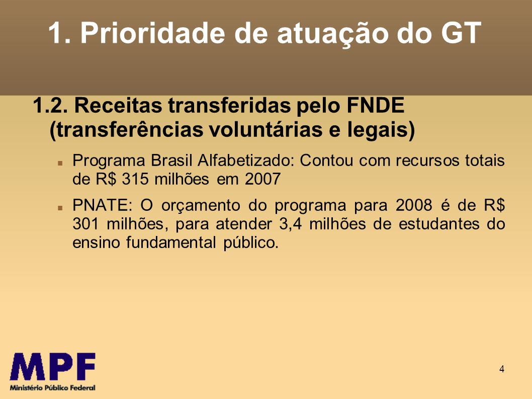 4 1. Prioridade de atuação do GT 1.2. Receitas transferidas pelo FNDE (transferências voluntárias e legais) Programa Brasil Alfabetizado: Contou com r