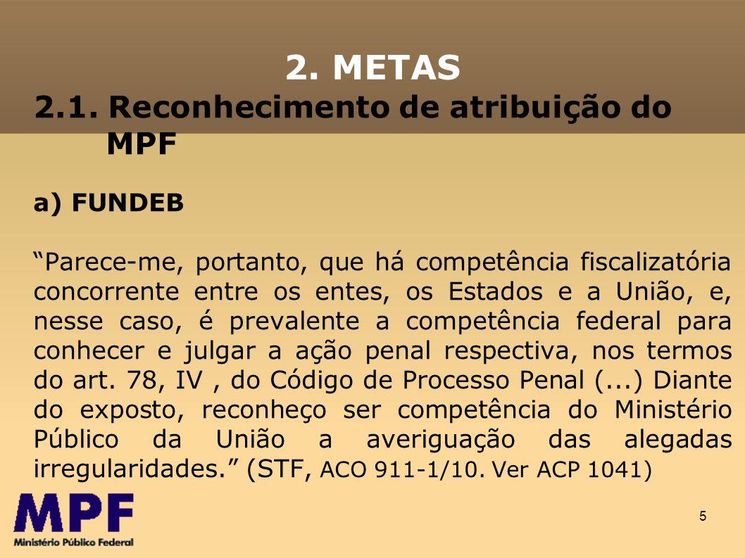 5 2.1. Reconhecimento de atribuição do MPF a) FUNDEB Parece-me, portanto, que há competência fiscalizatória concorrente entre os entes, os Estados e a