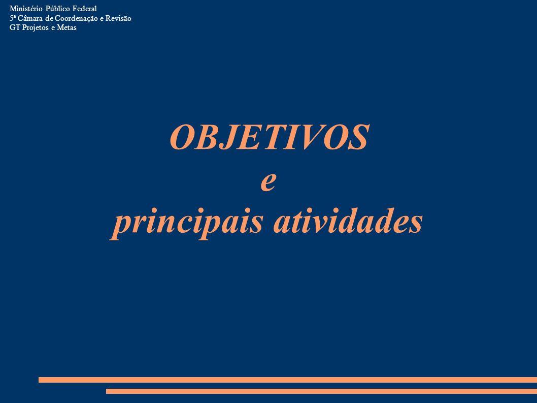 Ministério Público Federal 5ª Câmara de Coordenação e Revisão GT Projetos e Metas OBJETIVOS e principais atividades