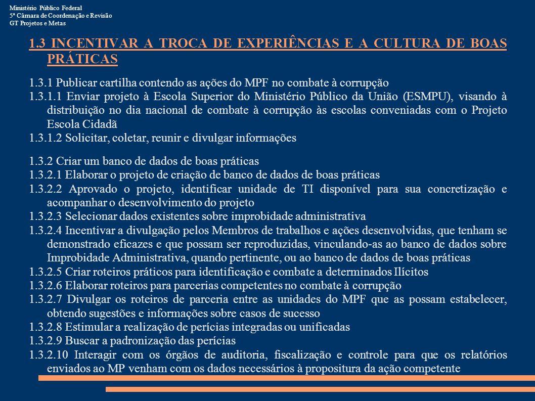 Ministério Público Federal 5ª Câmara de Coordenação e Revisão GT Projetos e Metas 1.3 INCENTIVAR A TROCA DE EXPERIÊNCIAS E A CULTURA DE BOAS PRÁTICAS