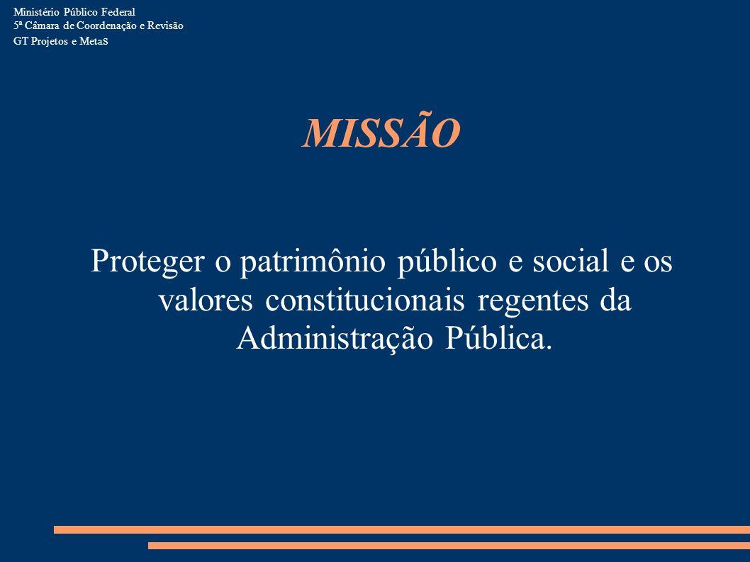 MISSÃO Proteger o patrimônio público e social e os valores constitucionais regentes da Administração Pública. Ministério Público Federal 5ª Câmara de