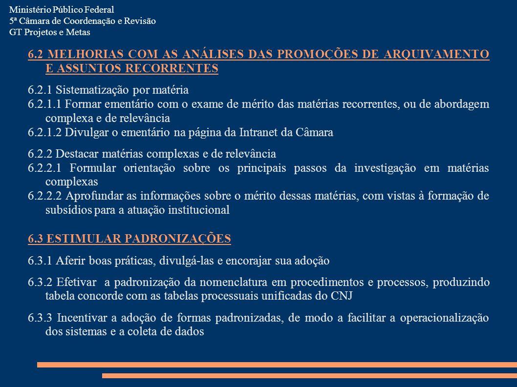 6.2 MELHORIAS COM AS ANÁLISES DAS PROMOÇÕES DE ARQUIVAMENTO E ASSUNTOS RECORRENTES 6.2.1 Sistematização por matéria 6.2.1.1 Formar ementário com o exa