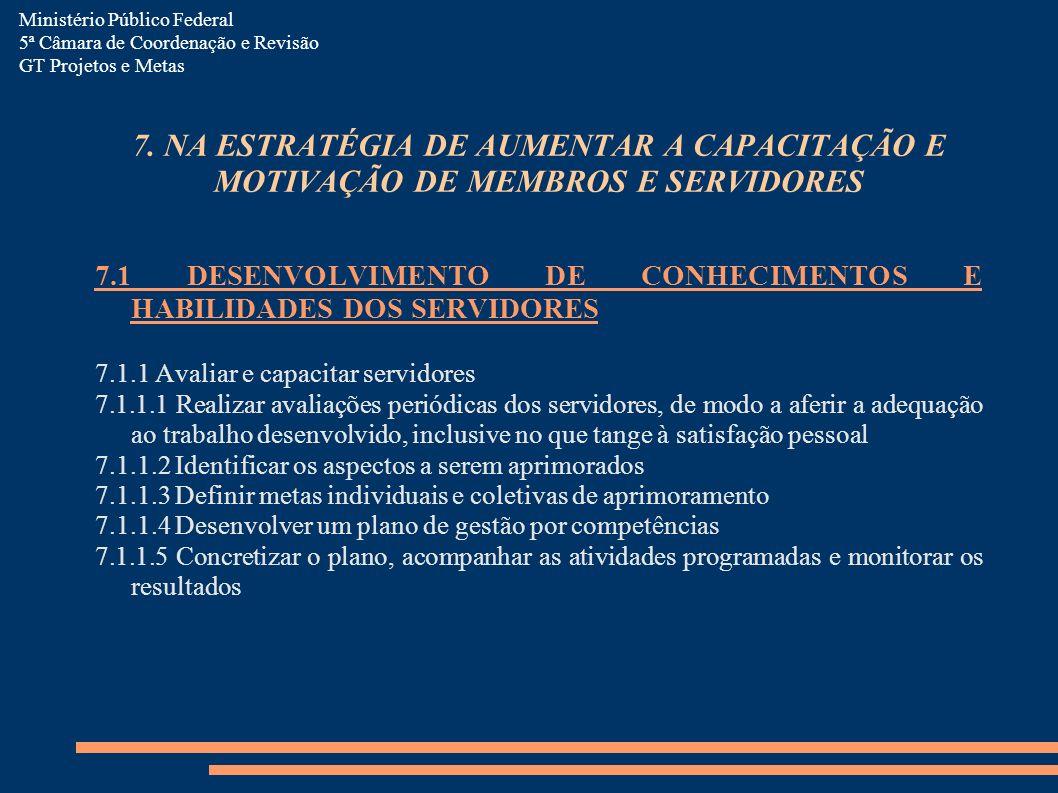 7. NA ESTRATÉGIA DE AUMENTAR A CAPACITAÇÃO E MOTIVAÇÃO DE MEMBROS E SERVIDORES 7.1 DESENVOLVIMENTO DE CONHECIMENTOS E HABILIDADES DOS SERVIDORES 7.1.1
