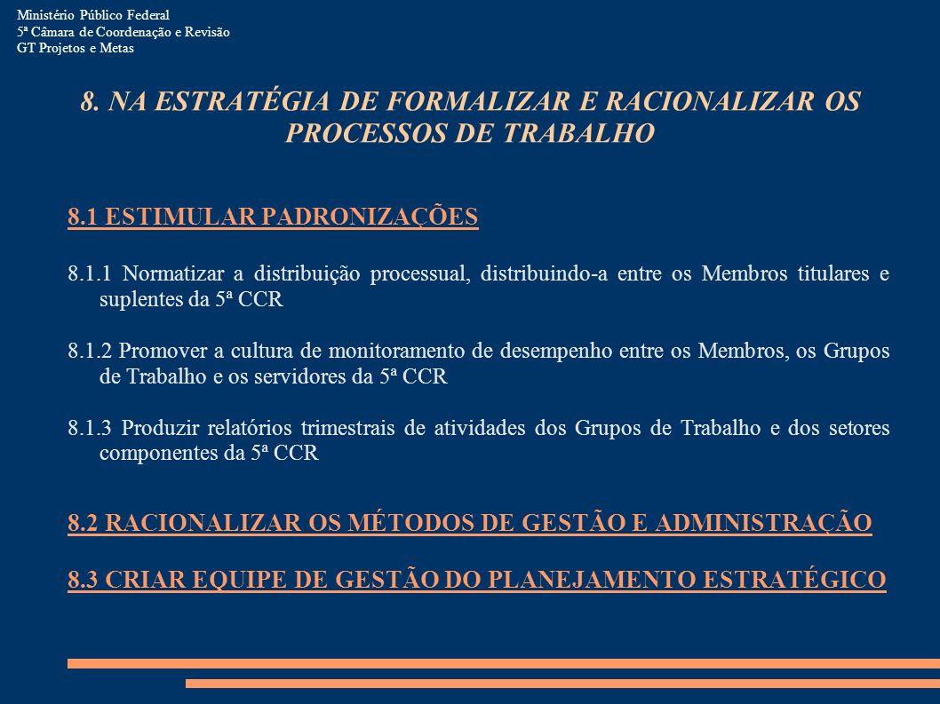 Ministério Público Federal 5ª Câmara de Coordenação e Revisão GT Projetos e Metas 8. NA ESTRATÉGIA DE FORMALIZAR E RACIONALIZAR OS PROCESSOS DE TRABAL
