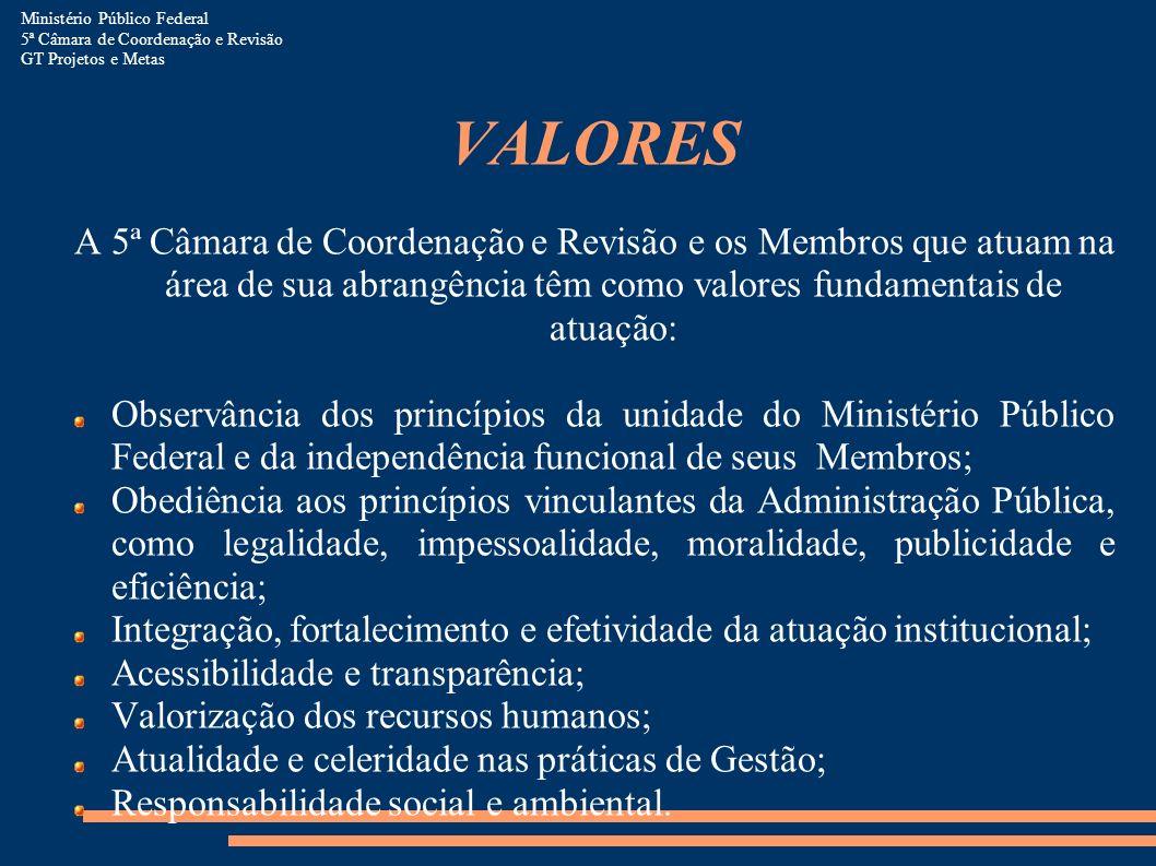 VALORES A 5ª Câmara de Coordenação e Revisão e os Membros que atuam na área de sua abrangência têm como valores fundamentais de atuação: Observância d