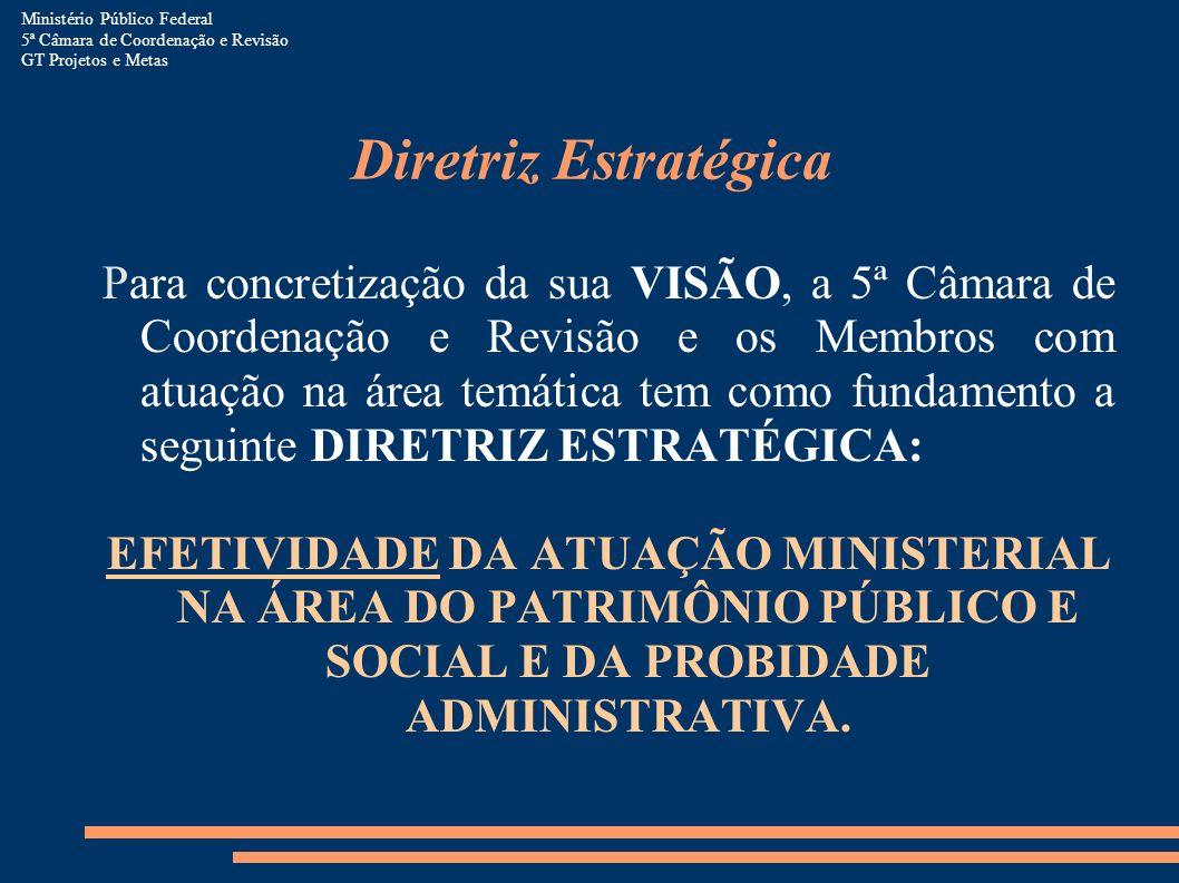 Estratégias Para concretização da VISÃO, tem-se como prioritárias as seguintes estratégias de atuação: 1.REFORÇAR A INTEGRAÇÃO NO MINISTÉRIO PÚBLICO FEDERAL E COM ÓRGÃOS AFINS 2.INCREMENTAR A SINERGIA OPERACIONAL INSTITUCIONAL 3.ESTABELECER E UTILIZAR MEDIDAS CORRELACIONADAS A RESULTADOS 4.ACOMPANHAR E ATUAR EM PROCESSOS LEGISLATIVOS 5.AMPLIAR A INFORMAÇÃO PARA TODOS OS SEUS PÚBLICOS 6.APRIMORAR PROCESSOS INTERNOS 7.AUMENTAR A CAPACITAÇÃO E MOTIVAÇÃO DE MEMBROS E SERVIDORES 8.FORMALIZAR E RACIONALIZAR OS PROCESSOS DE TRABALHO 9.ASSEGURAR RECURSOS ORÇAMENTÁRIOS PARA EXECUÇÃO DO PLANEJAMENTO ESTRATÉGICO Ministério Público Federal 5ª Câmara de Coordenação e Revisão GT Projetos e Metas