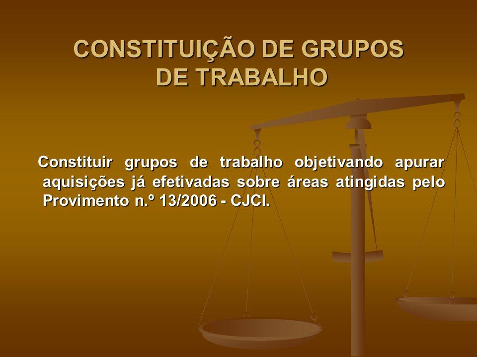 CONSTITUIÇÃO DE GRUPOS DE TRABALHO Constituir grupos de trabalho objetivando apurar aquisições já efetivadas sobre áreas atingidas pelo Provimento n.º 13/2006 - CJCI.