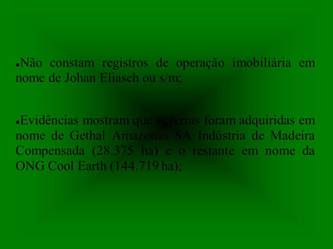 Não constam registros de operação imobiliária em nome de Johan Eliasch ou s/m; Evidências mostram que as terras foram adquiridas em nome de Gethal Amazonas SA Indústria de Madeira Compensada (28.375 ha) e o restante em nome da ONG Cool Earth (144.719 ha);