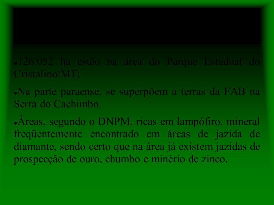 126.052 ha estão na área do Parque Estadual do Cristalino/MT; Na parte paraense, se superpõem a terras da FAB na Serra do Cachimbo.