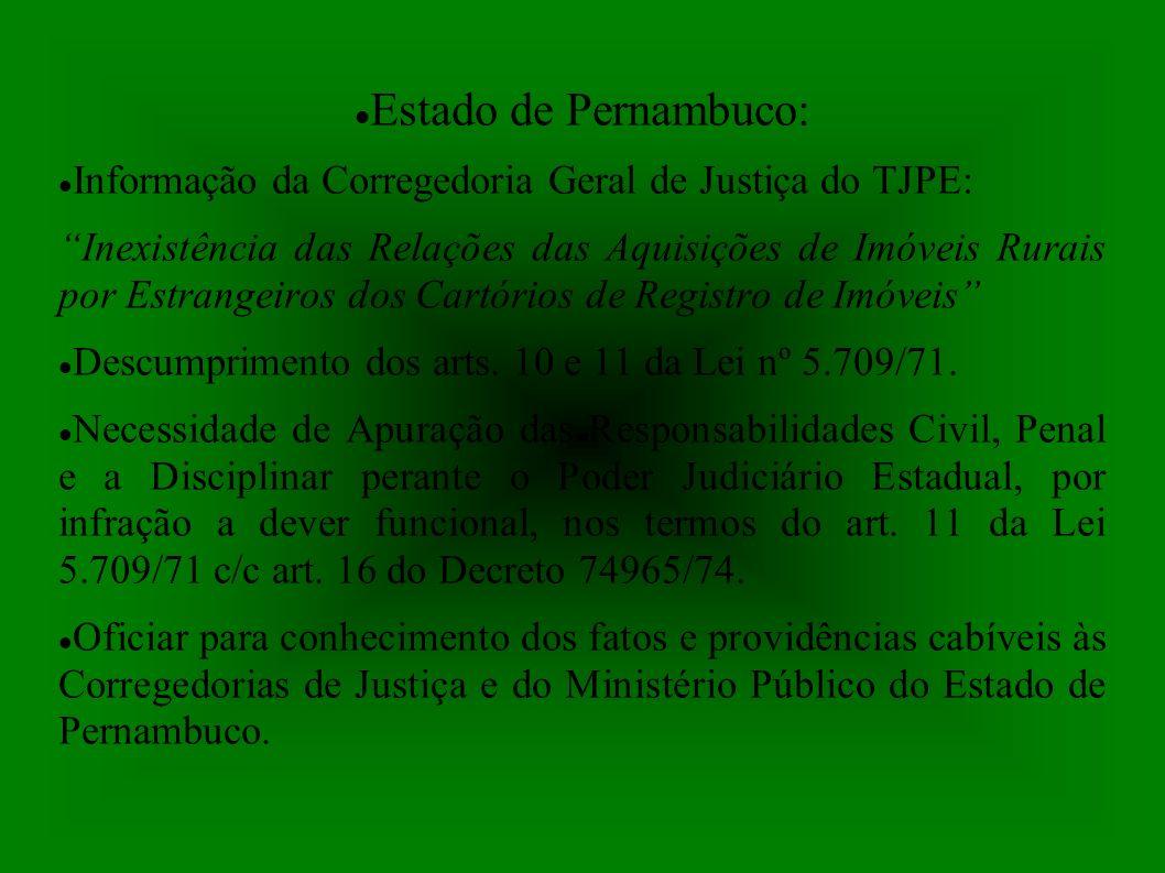 Estado de Pernambuco: Informação da Corregedoria Geral de Justiça do TJPE: Inexistência das Relações das Aquisições de Imóveis Rurais por Estrangeiros dos Cartórios de Registro de Imóveis Descumprimento dos arts.