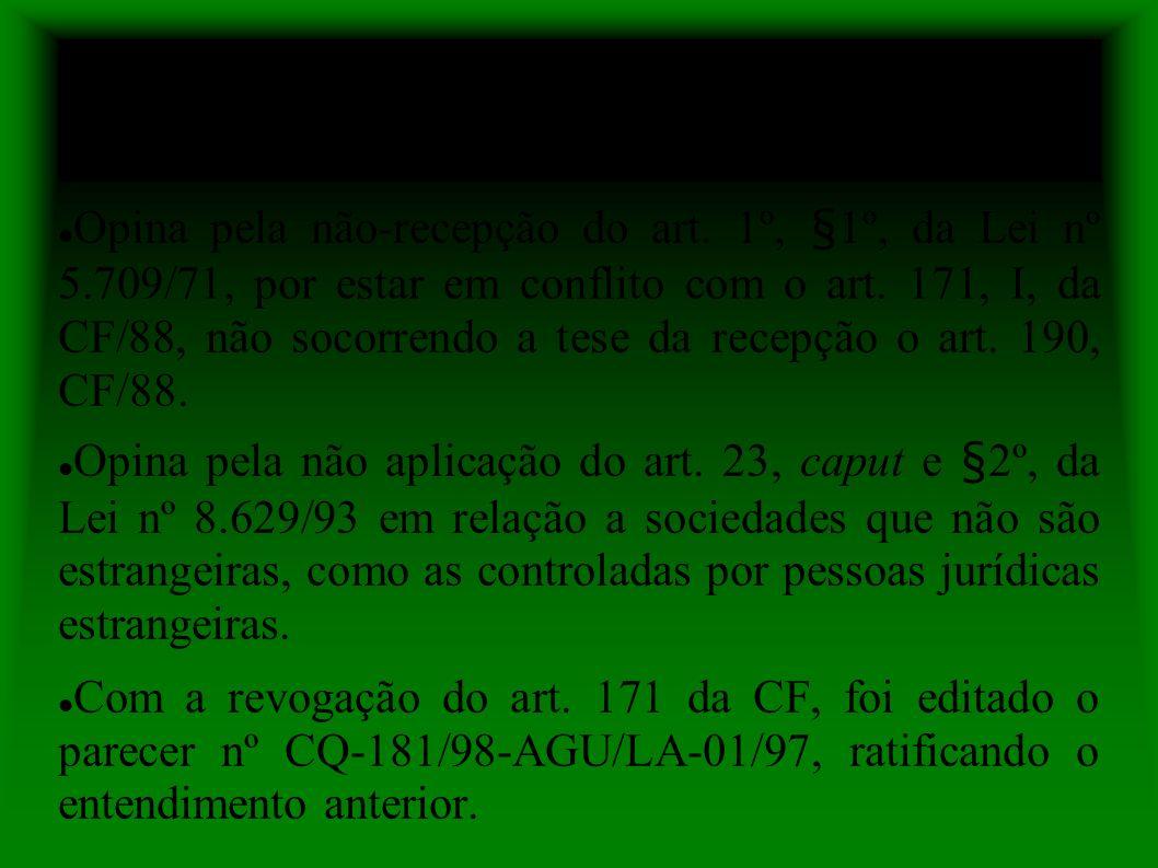 Parecer nº AGU/LA-04/94 Opina pela não-recepção do art.