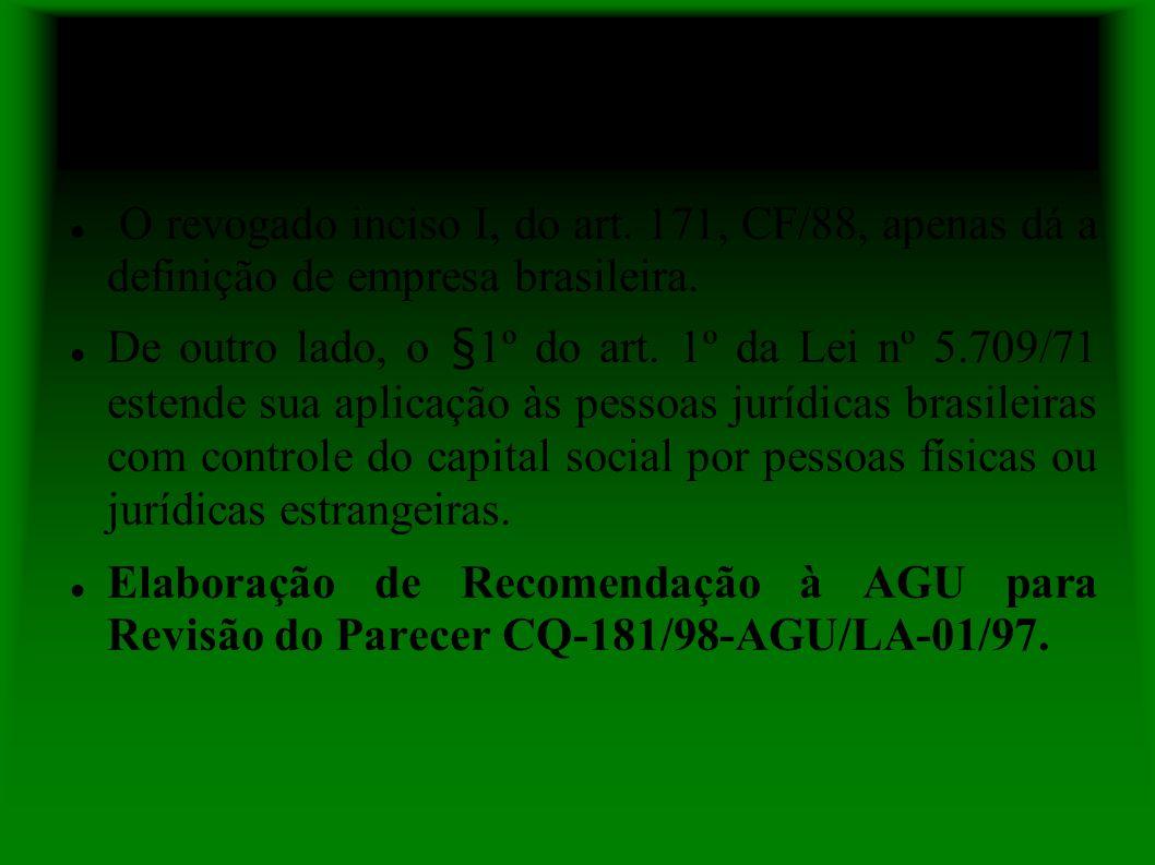 Posição do GT Bens Públicos e Desapropriação da 5ª CCR do MPF O revogado inciso I, do art.