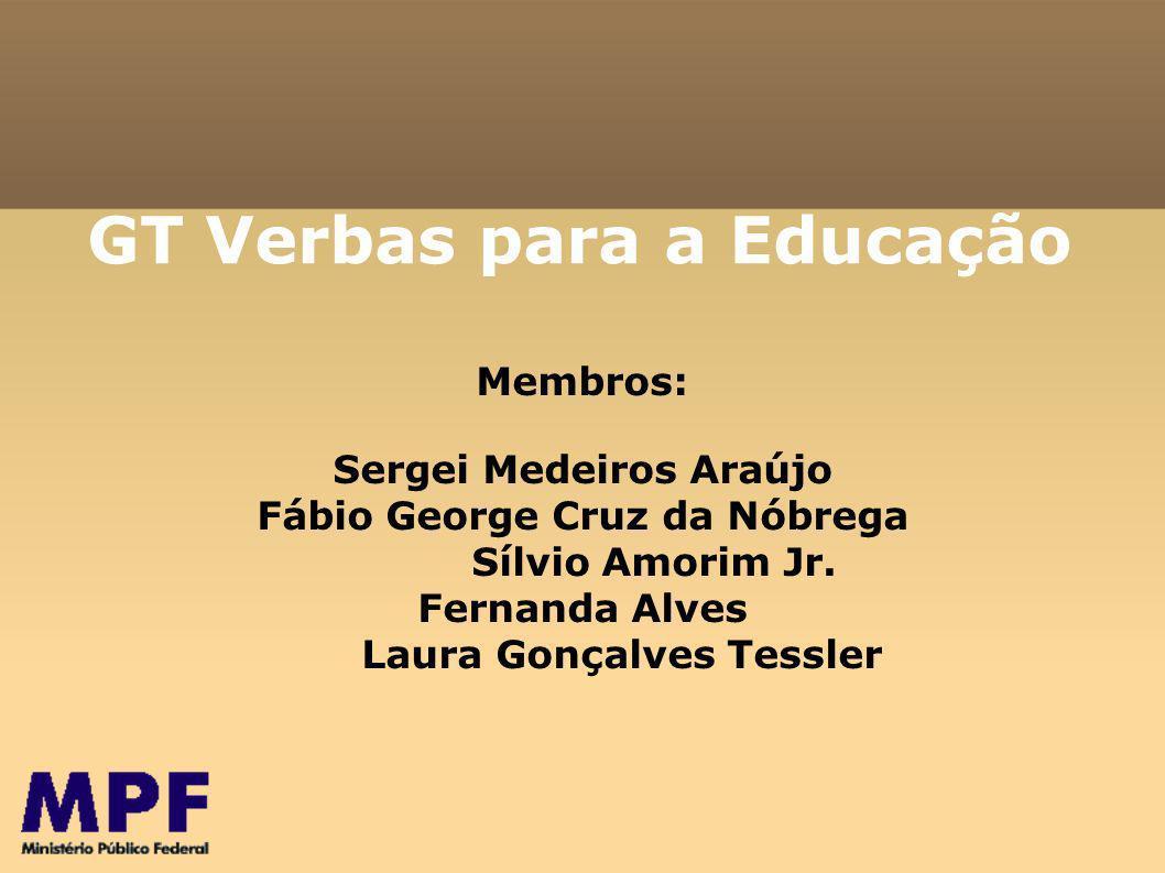 GT Verbas para a Educação Membros: Sergei Medeiros Araújo Fábio George Cruz da Nóbrega Sílvio Amorim Jr.