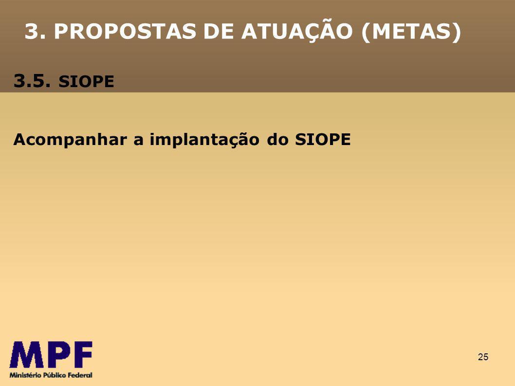 25 3. PROPOSTAS DE ATUAÇÃO (METAS) 3.5. SIOPE Acompanhar a implantação do SIOPE