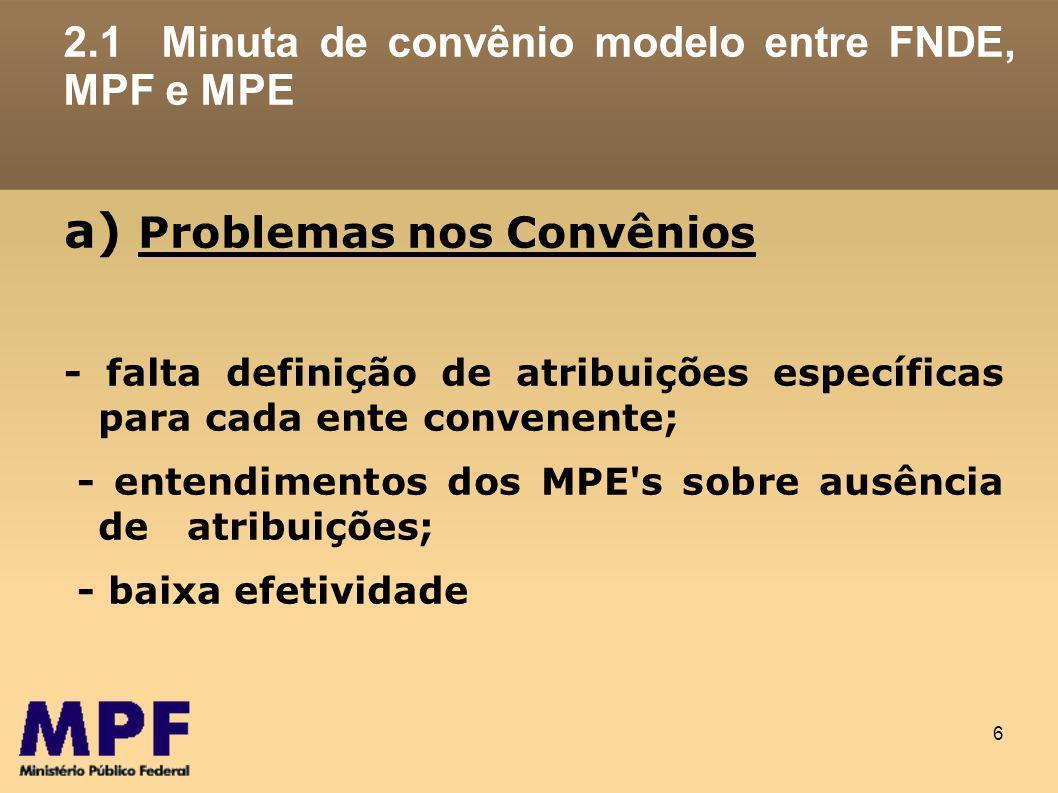 6 2.1 Minuta de convênio modelo entre FNDE, MPF e MPE a) Problemas nos Convênios - falta definição de atribuições específicas para cada ente convenente; - entendimentos dos MPE s sobre ausência de atribuições; - baixa efetividade