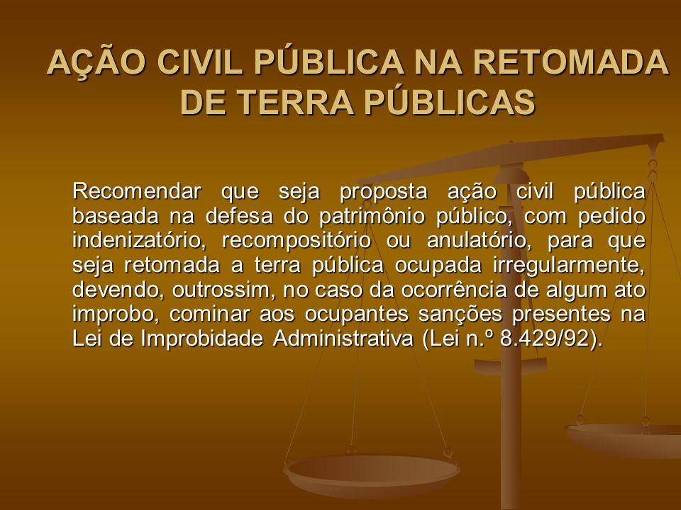 AÇÃO CIVIL PÚBLICA NA RETOMADA DE TERRA PÚBLICAS Recomendar que seja proposta ação civil pública baseada na defesa do patrimônio público, com pedido indenizatório, recompositório ou anulatório, para que seja retomada a terra pública ocupada irregularmente, devendo, outrossim, no caso da ocorrência de algum ato improbo, cominar aos ocupantes sanções presentes na Lei de Improbidade Administrativa (Lei n.º 8.429/92).