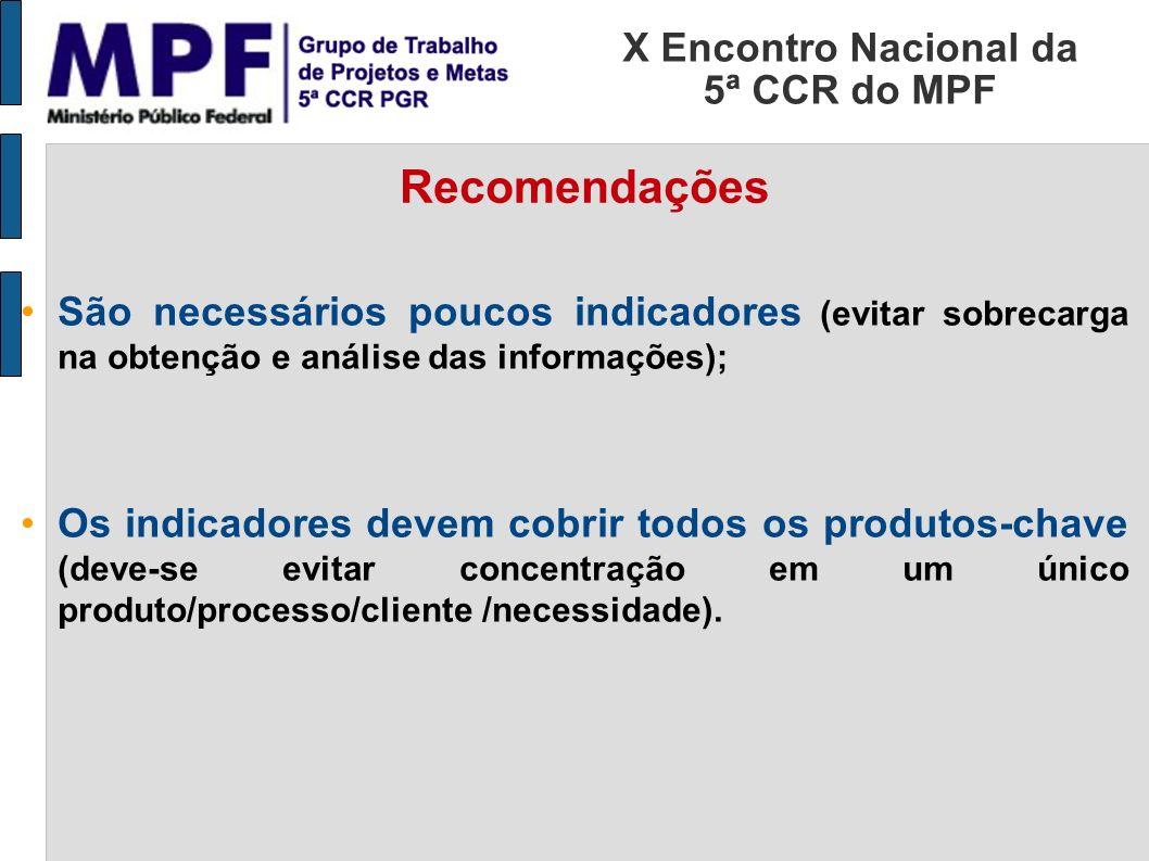X Encontro Nacional da 5ª CCR do MPF Recomendações São necessários poucos indicadores (evitar sobrecarga na obtenção e análise das informações); Os in