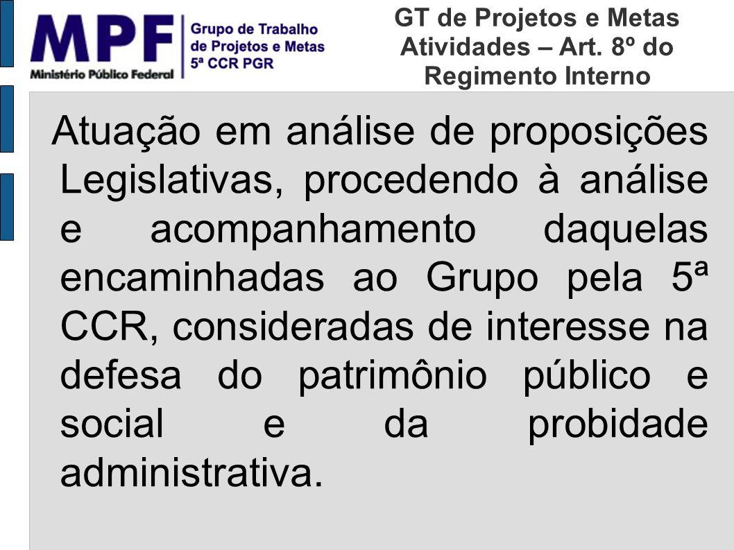 Atuação em análise de proposições Legislativas, procedendo à análise e acompanhamento daquelas encaminhadas ao Grupo pela 5ª CCR, consideradas de inte