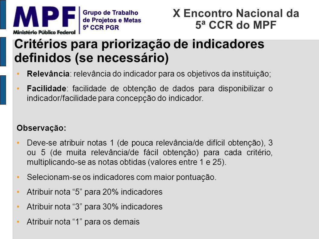 X Encontro Nacional da 5ª CCR do MPF Critérios para priorização de indicadores definidos (se necessário) Relevância: relevância do indicador para os o