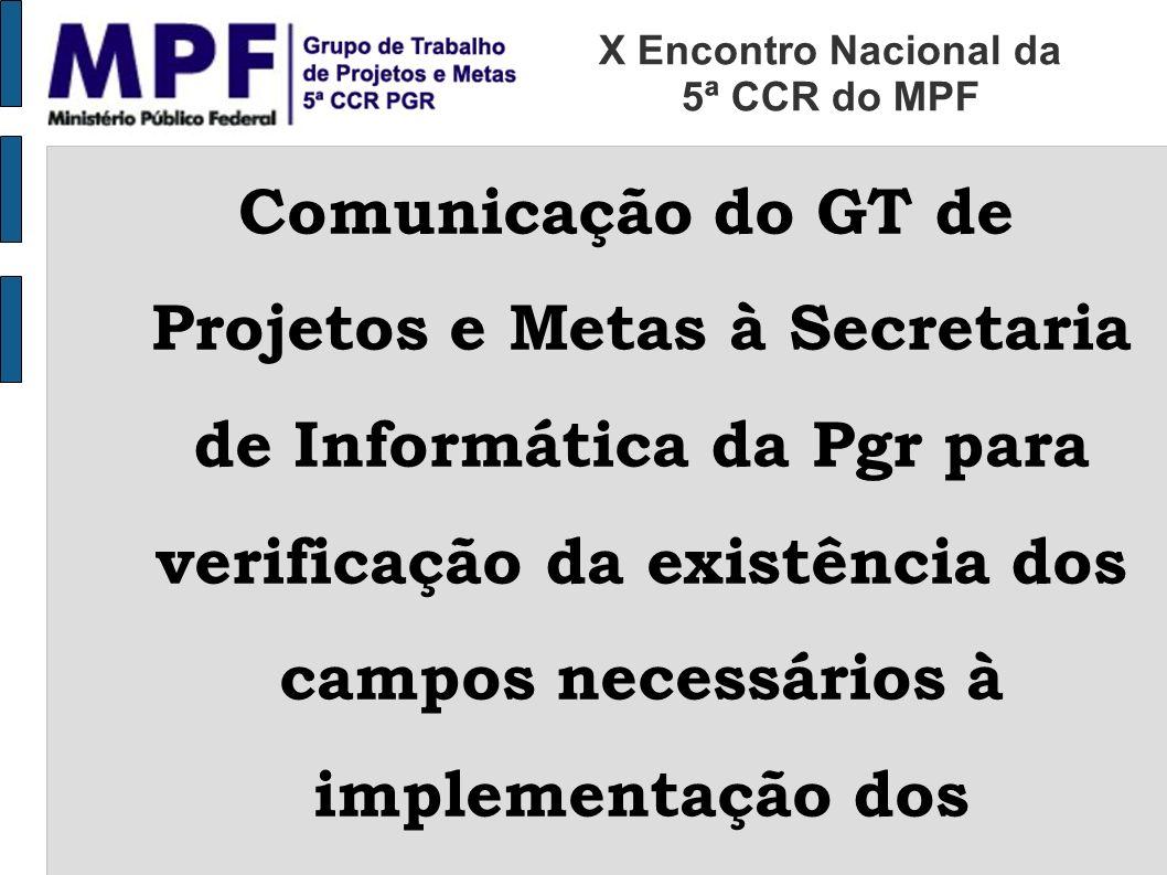 Comunicação do GT de Projetos e Metas à Secretaria de Informática da Pgr para verificação da existência dos campos necessários à implementação dos ind