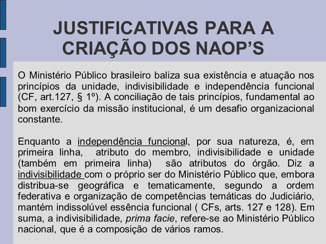 JUSTIFICATIVAS PARA A CRIAÇÃO DOS NAOPS O Ministério Público brasileiro baliza sua existência e atuação nos princípios da unidade, indivisibilidade e