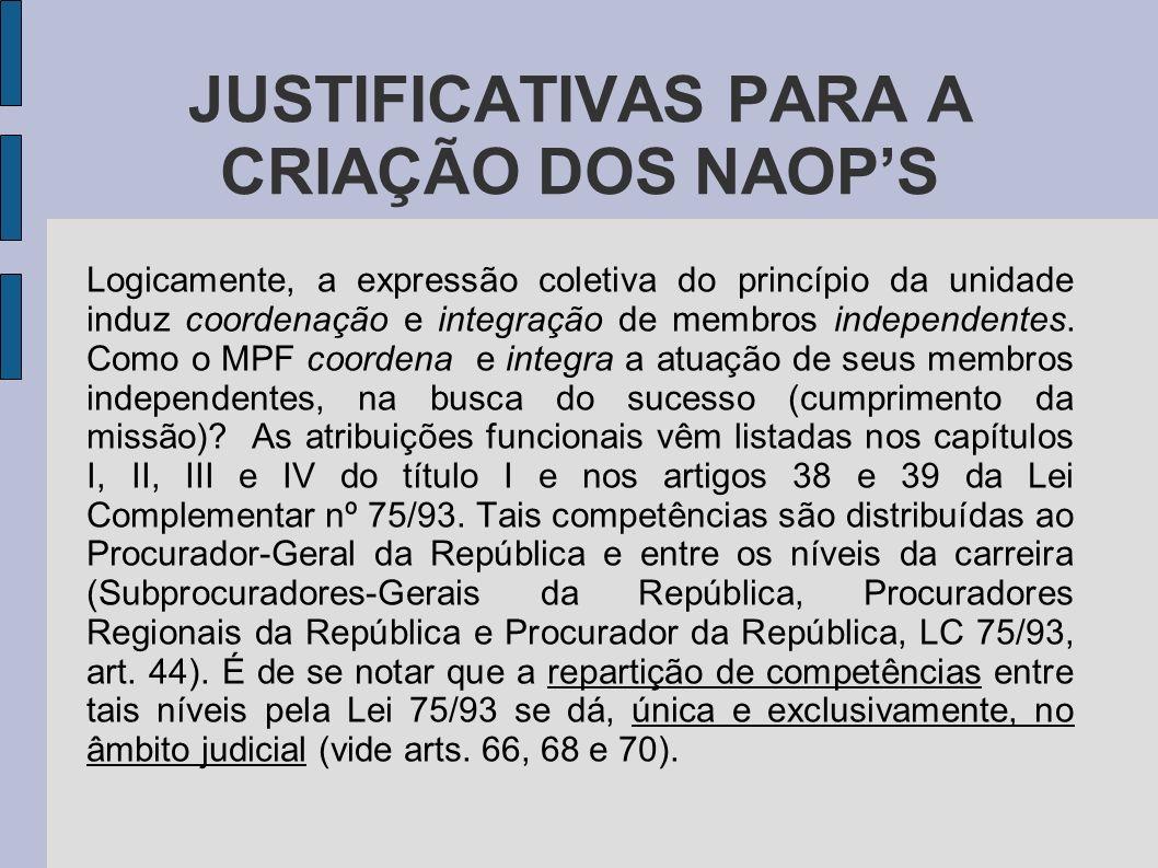 JUSTIFICATIVAS PARA A CRIAÇÃO DOS NAOPS Logicamente, a expressão coletiva do princípio da unidade induz coordenação e integração de membros independen