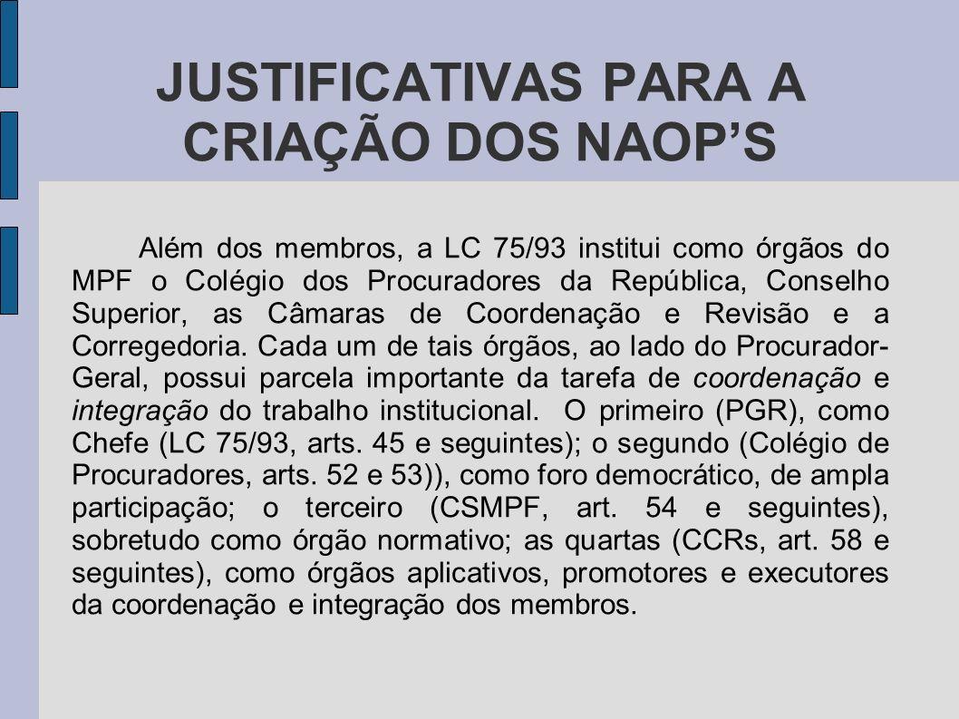 JUSTIFICATIVAS PARA A CRIAÇÃO DOS NAOPS Além dos membros, a LC 75/93 institui como órgãos do MPF o Colégio dos Procuradores da República, Conselho Sup