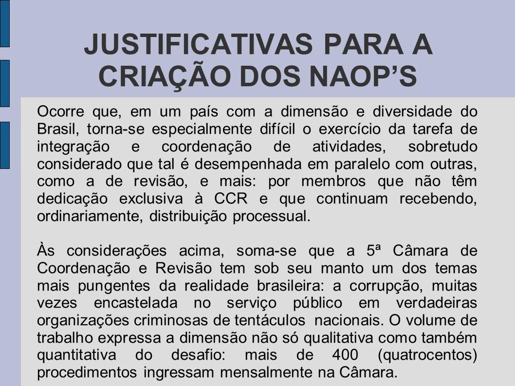 JUSTIFICATIVAS PARA A CRIAÇÃO DOS NAOPS Ocorre que, em um país com a dimensão e diversidade do Brasil, torna-se especialmente difícil o exercício da t