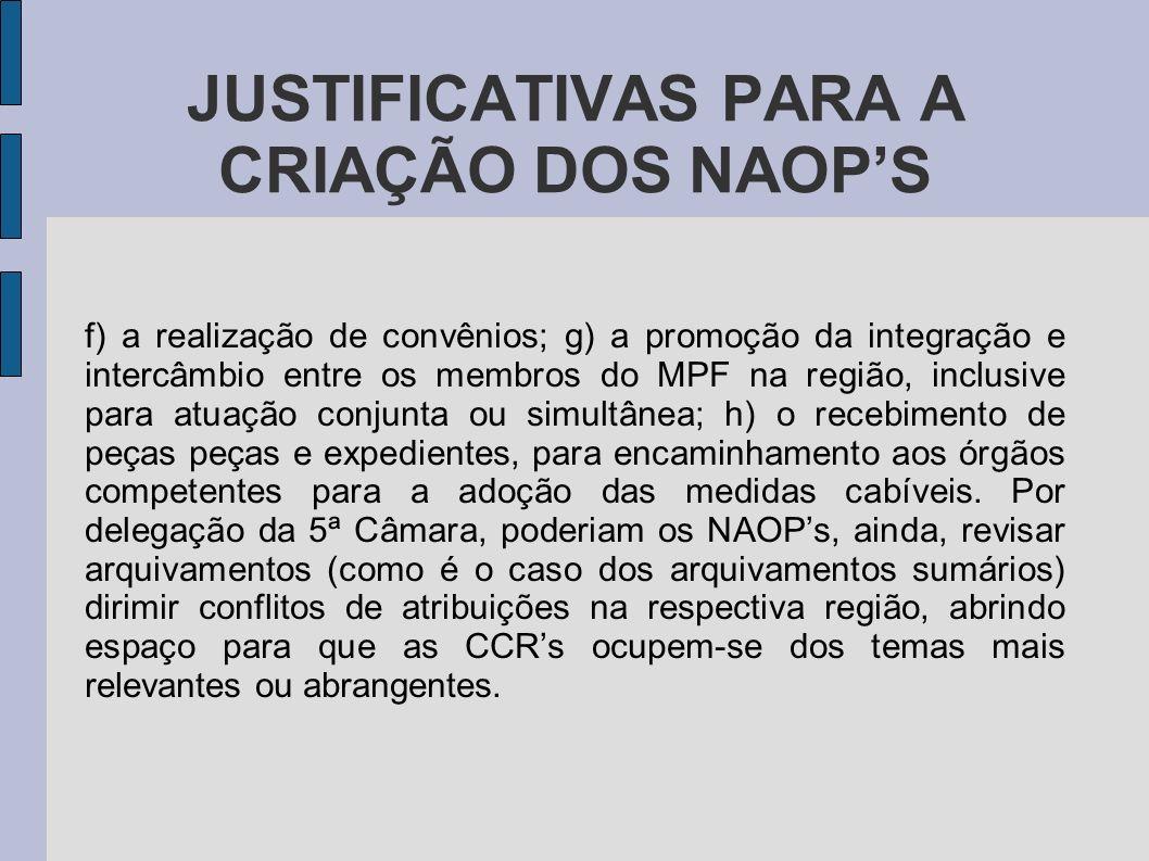 JUSTIFICATIVAS PARA A CRIAÇÃO DOS NAOPS f) a realização de convênios; g) a promoção da integração e intercâmbio entre os membros do MPF na região, inc