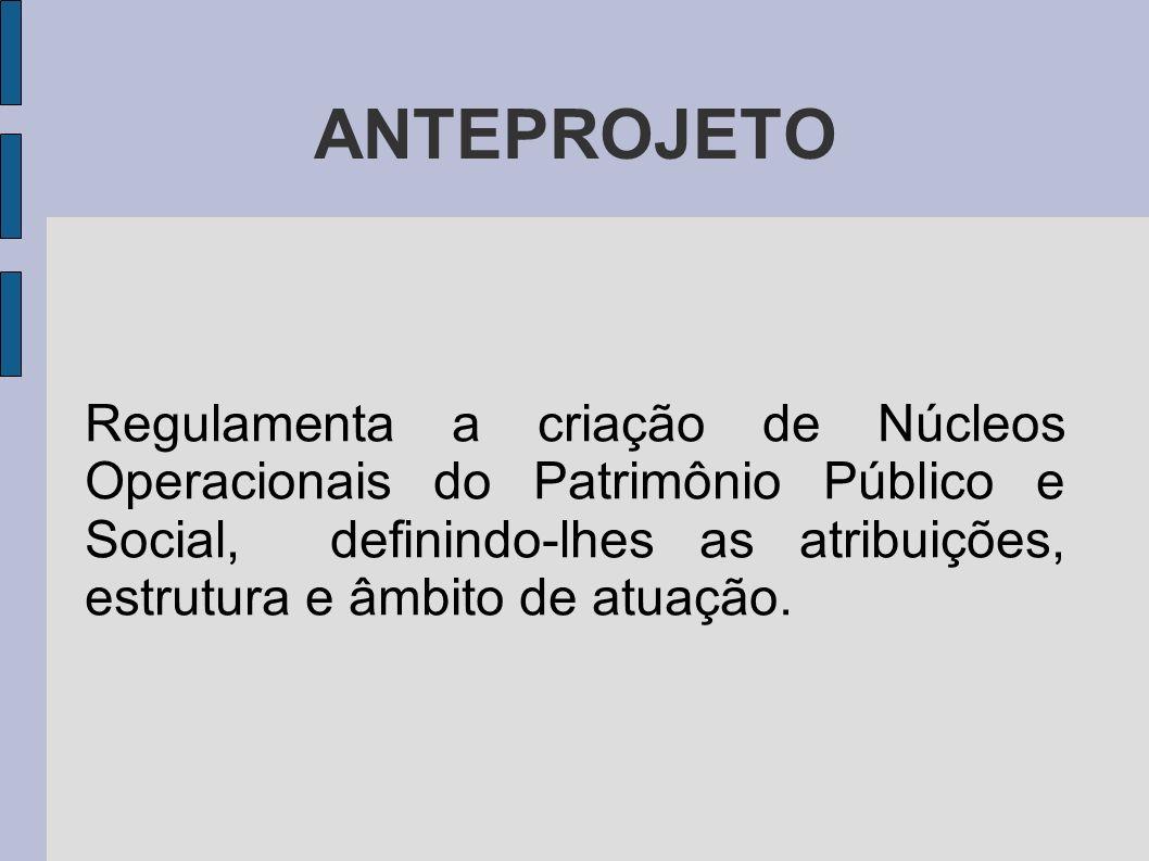 ANTEPROJETO Regulamenta a criação de Núcleos Operacionais do Patrimônio Público e Social, definindo-lhes as atribuições, estrutura e âmbito de atuação
