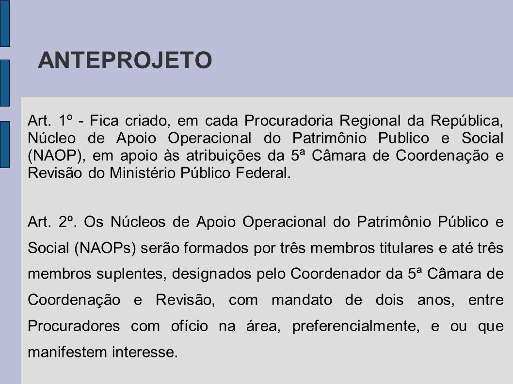 Art. 1º - Fica criado, em cada Procuradoria Regional da República, Núcleo de Apoio Operacional do Patrimônio Publico e Social (NAOP), em apoio às atri