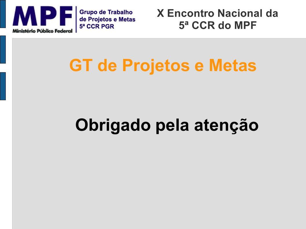 Obrigado pela atenção X Encontro Nacional da 5ª CCR do MPF GT de Projetos e Metas