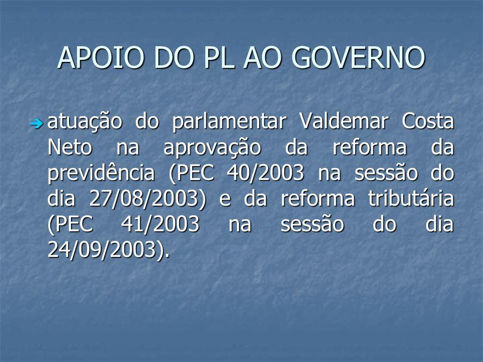 APOIO DO PL AO GOVERNO atuação do parlamentar Valdemar Costa Neto na aprovação da reforma da previdência (PEC 40/2003 na sessão do dia 27/08/2003) e d
