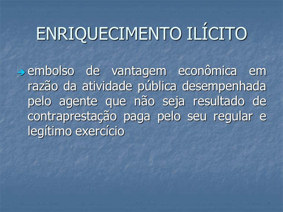 ENRIQUECIMENTO ILÍCITO embolso de vantagem econômica em razão da atividade pública desempenhada pelo agente que não seja resultado de contraprestação