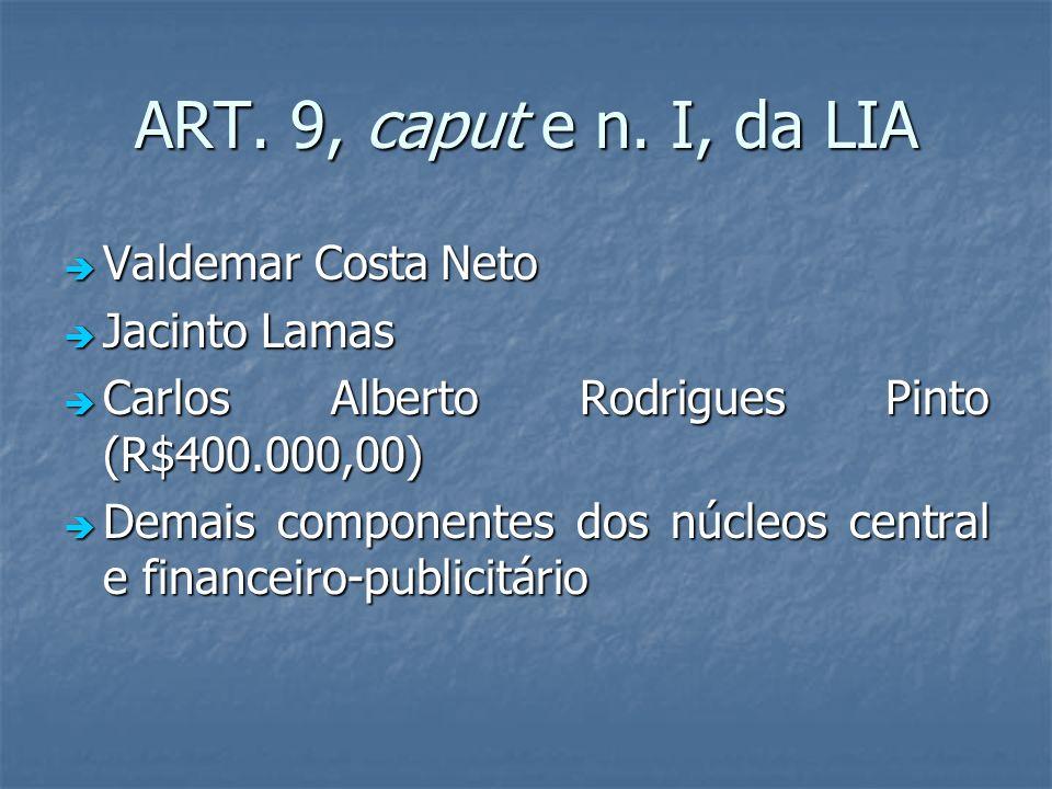 ART. 9, caput e n. I, da LIA Valdemar Costa Neto Valdemar Costa Neto Jacinto Lamas Jacinto Lamas Carlos Alberto Rodrigues Pinto (R$400.000,00) Carlos