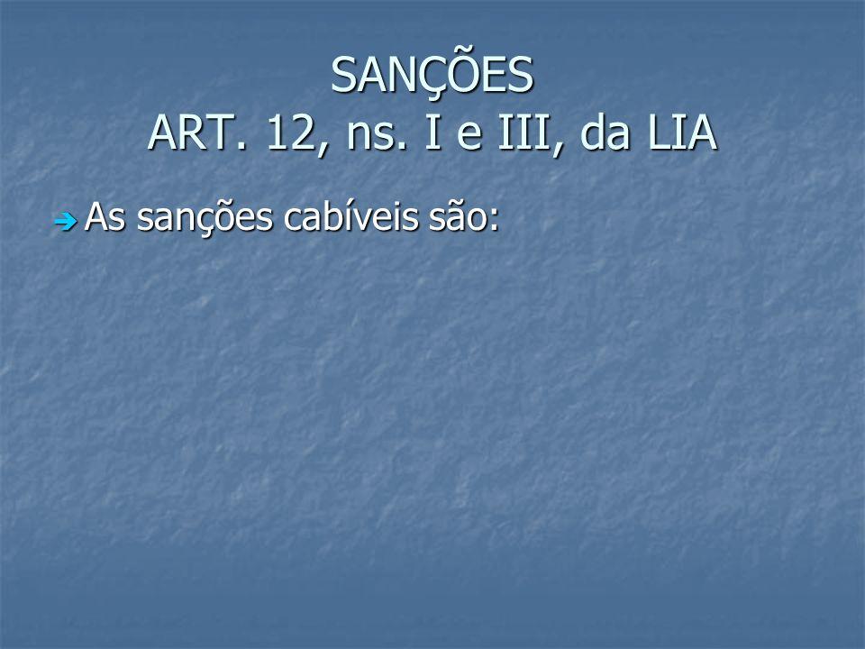 SANÇÕES ART. 12, ns. I e III, da LIA As sanções cabíveis são: As sanções cabíveis são: