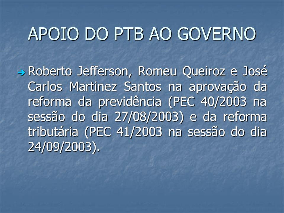 APOIO DO PTB AO GOVERNO Roberto Jefferson, Romeu Queiroz e José Carlos Martinez Santos na aprovação da reforma da previdência (PEC 40/2003 na sessão d