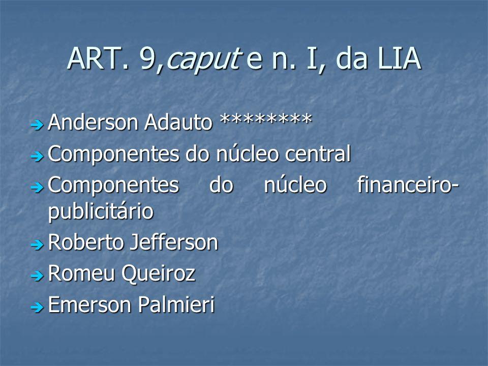 ART. 9,caput e n. I, da LIA Anderson Adauto ******** Anderson Adauto ******** Componentes do núcleo central Componentes do núcleo central Componentes