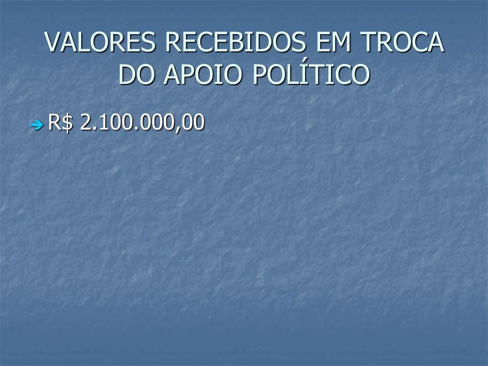 VALORES RECEBIDOS EM TROCA DO APOIO POLÍTICO R$ 2.100.000,00 R$ 2.100.000,00