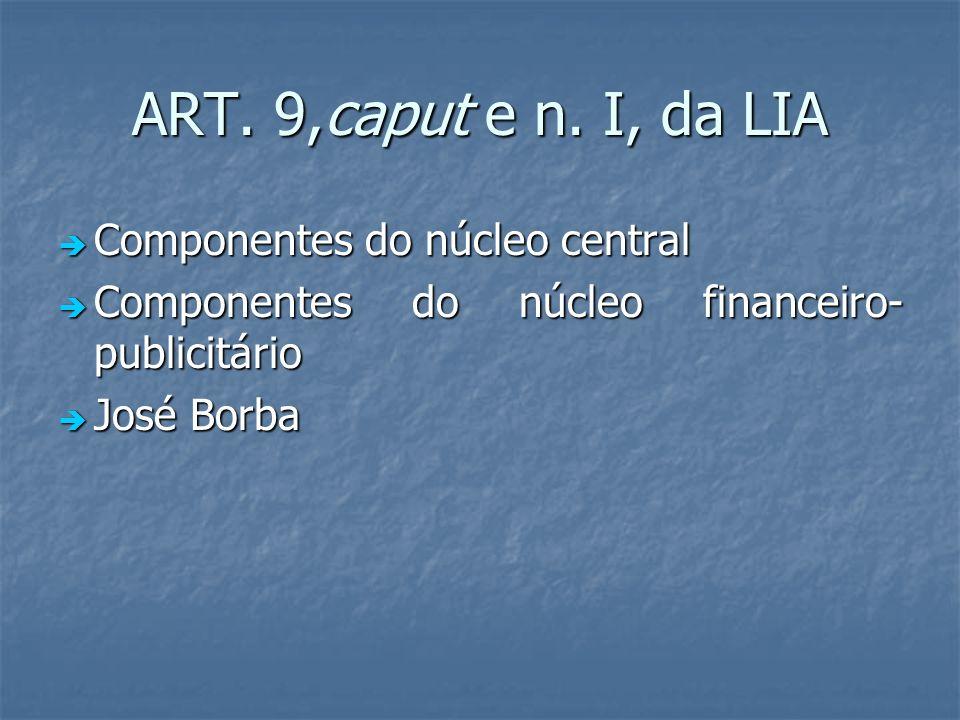 ART. 9,caput e n. I, da LIA Componentes do núcleo central Componentes do núcleo central Componentes do núcleo financeiro- publicitário Componentes do