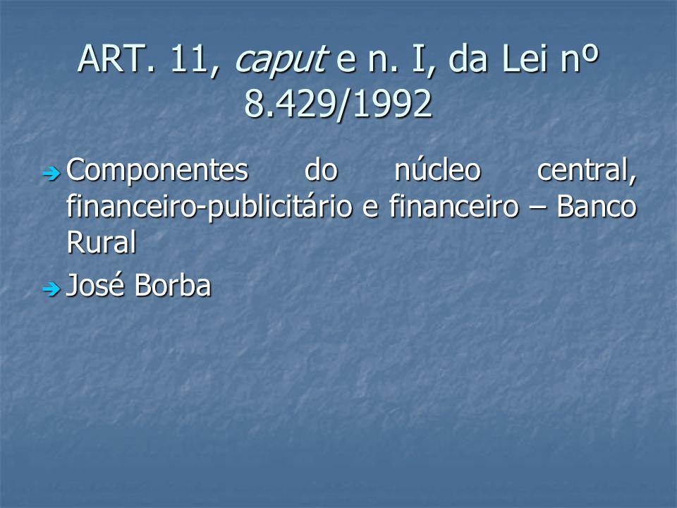 ART. 11, caput e n. I, da Lei nº 8.429/1992 Componentes do núcleo central, financeiro-publicitário e financeiro – Banco Rural Componentes do núcleo ce