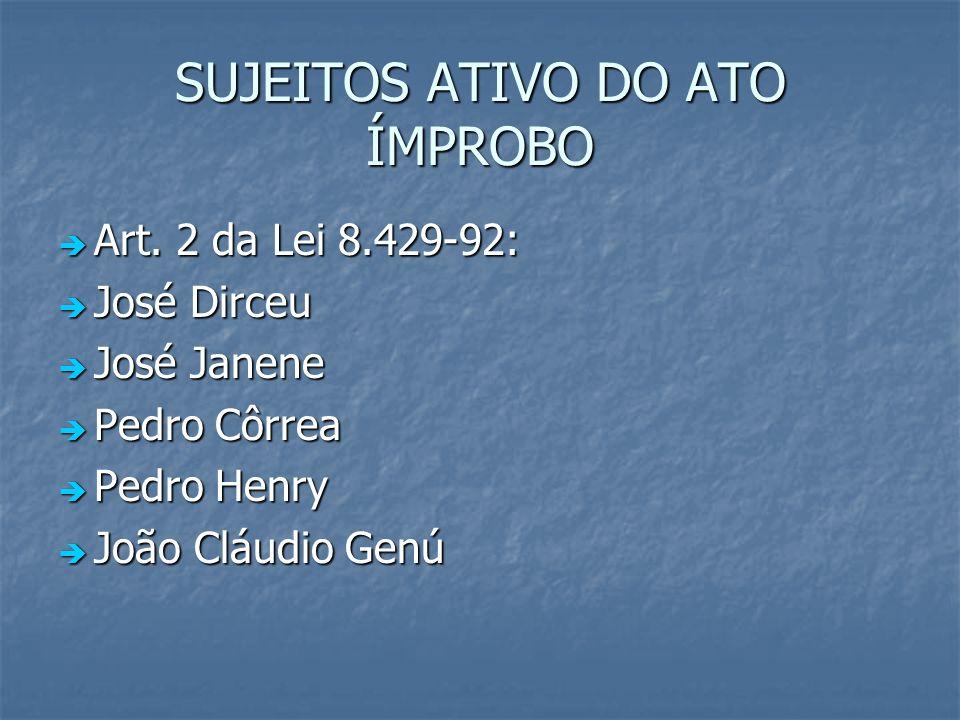 SUJEITOS ATIVO DO ATO ÍMPROBO Art. 2 da Lei 8.429-92: Art. 2 da Lei 8.429-92: José Dirceu José Dirceu José Janene José Janene Pedro Côrrea Pedro Côrre