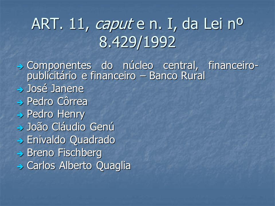 ART. 11, caput e n. I, da Lei nº 8.429/1992 Componentes do núcleo central, financeiro- publicitário e financeiro – Banco Rural Componentes do núcleo c