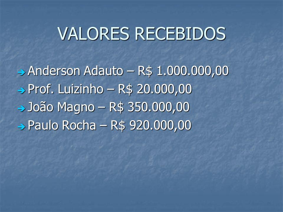VALORES RECEBIDOS Anderson Adauto – R$ 1.000.000,00 Anderson Adauto – R$ 1.000.000,00 Prof. Luizinho – R$ 20.000,00 Prof. Luizinho – R$ 20.000,00 João
