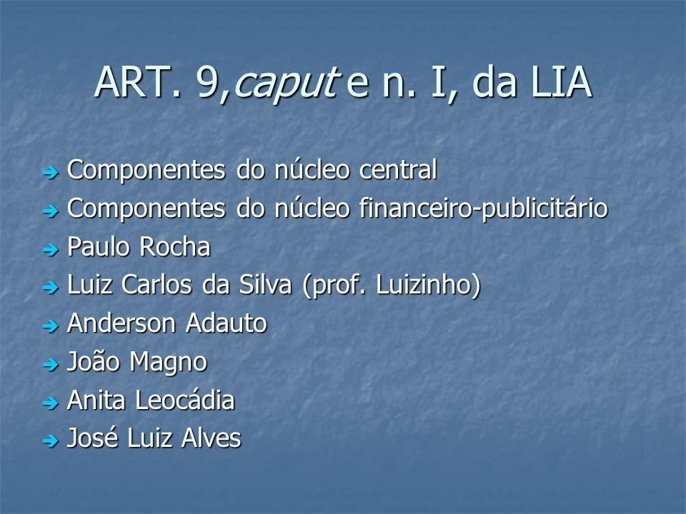 ART. 9,caput e n. I, da LIA Componentes do núcleo central Componentes do núcleo central Componentes do núcleo financeiro-publicitário Componentes do n