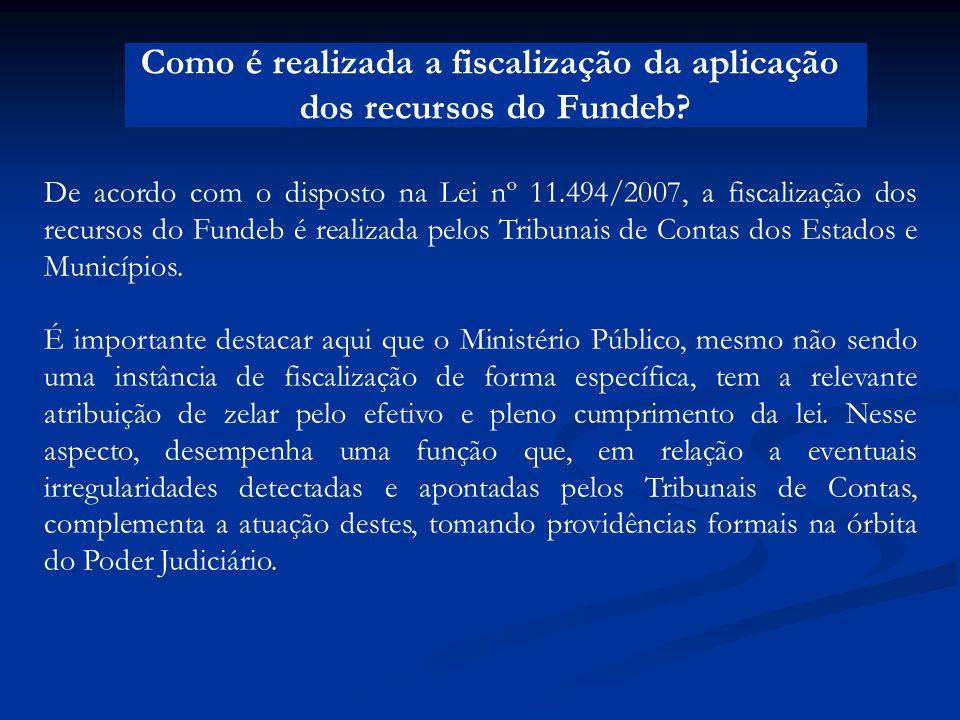 Como é realizada a fiscalização da aplicação dos recursos do Fundeb? De acordo com o disposto na Lei nº 11.494/2007, a fiscalização dos recursos do Fu