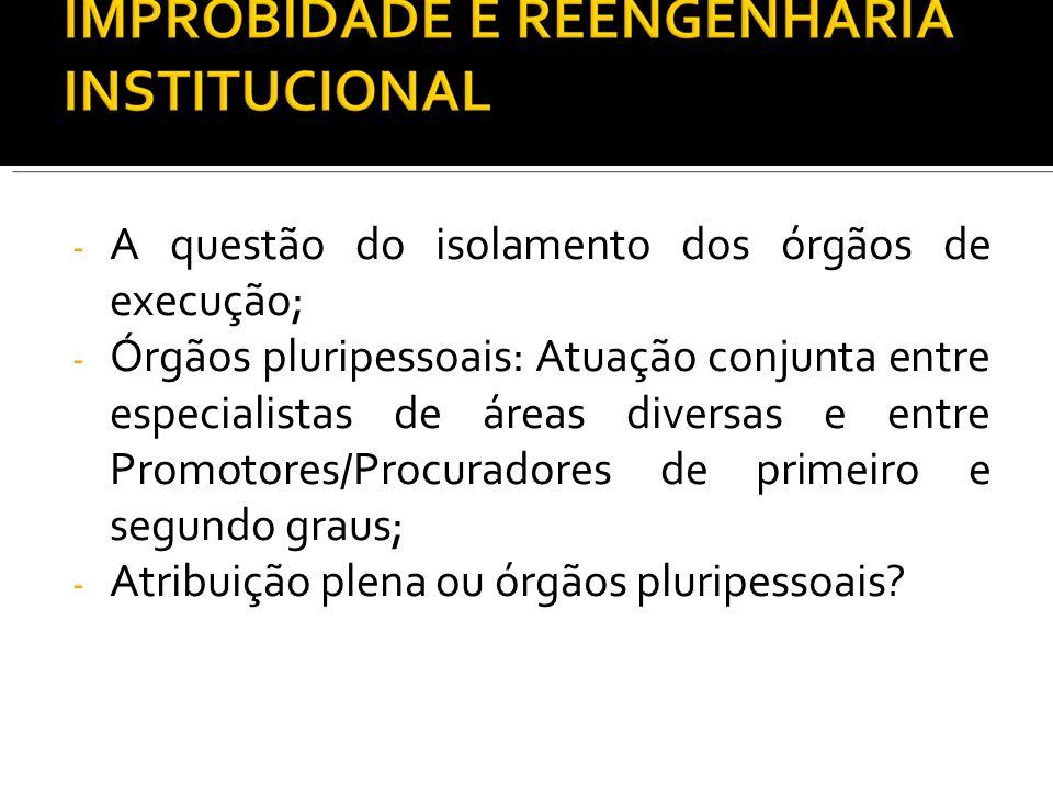- A questão do isolamento dos órgãos de execução; - Órgãos pluripessoais: Atuação conjunta entre especialistas de áreas diversas e entre Promotores/Pr