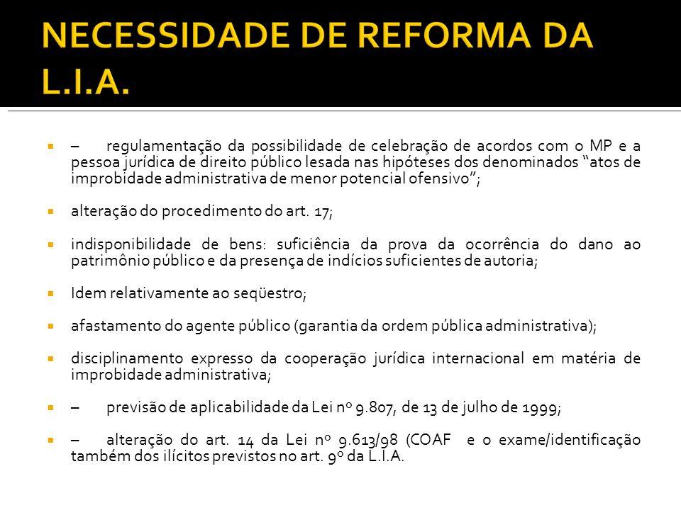–regulamentação da possibilidade de celebração de acordos com o MP e a pessoa jurídica de direito público lesada nas hipóteses dos denominados atos de