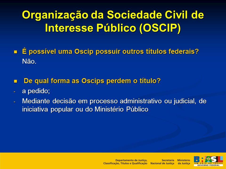 Organização da Sociedade Civil de Interesse Público (OSCIP) É possível uma Oscip possuir outros títulos federais? É possível uma Oscip possuir outros
