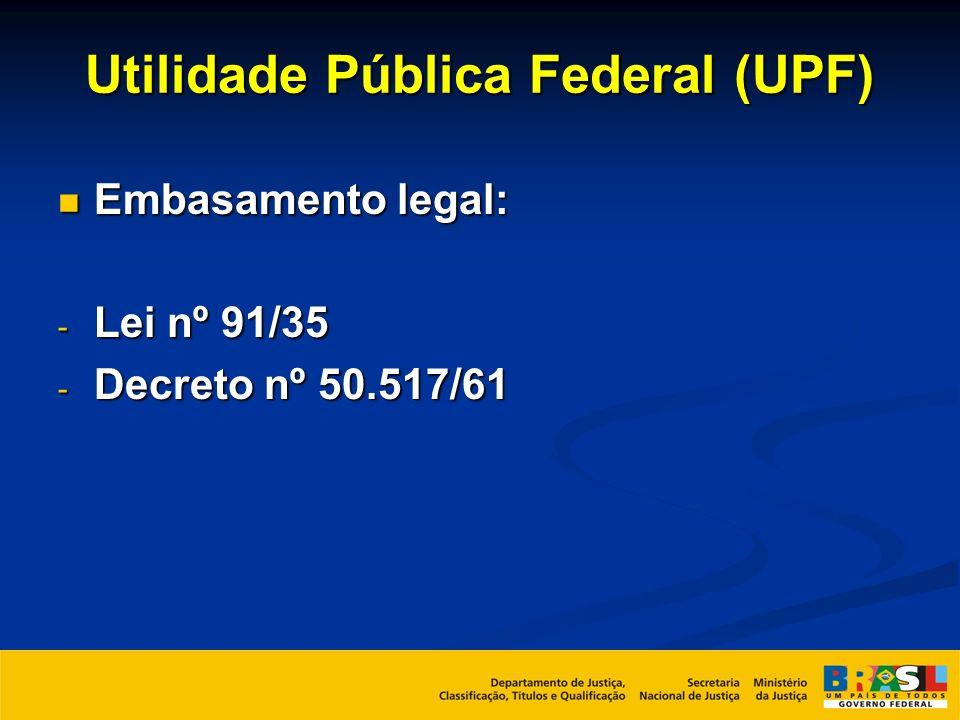 Utilidade Pública Federal (UPF) Embasamento legal: Embasamento legal: - Lei nº 91/35 - Decreto nº 50.517/61